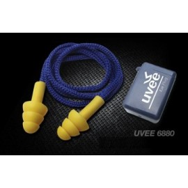 "UVEE "" YELLOW BRIGHT"" REUSABLE EAR PLUGS NYLON CORD AND CASE"